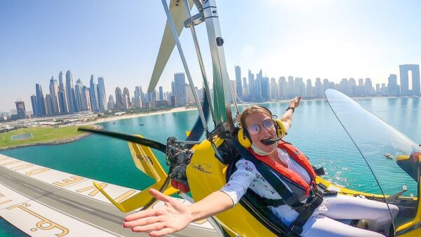 Taking off from Skydive Dubai Palm Dropzone harbour at 1500ft
