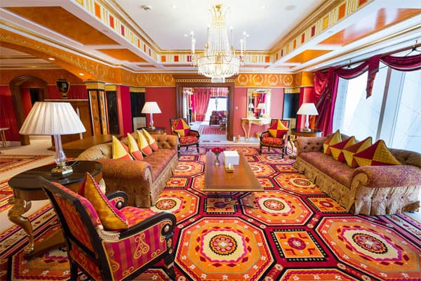 living room in royal suite